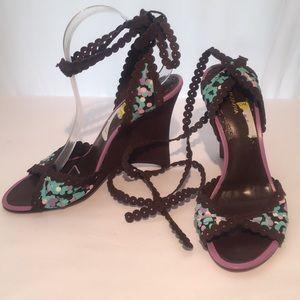 BCBGMAXAZRIA 10B Strappy Wedge Sandals